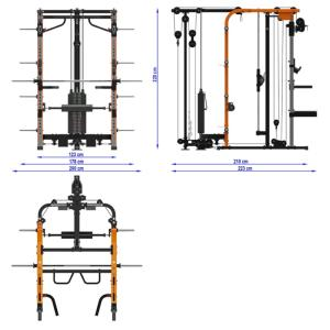 MegaTec® Smith Cable Rack - Multigimnasio - Con columna de pesos